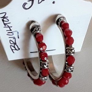 BRIGHTON Swarovski Red Crystal Hoop Earrings